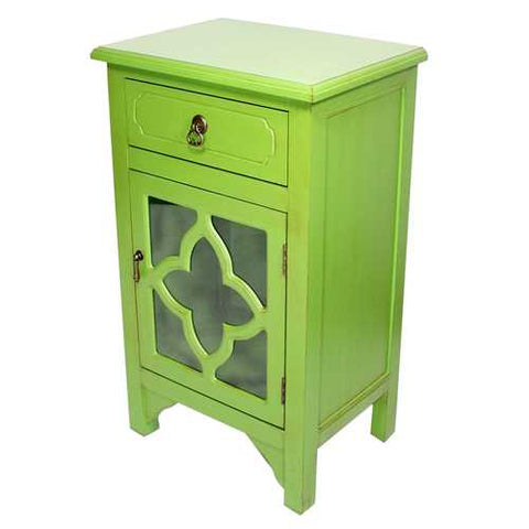 1-Drawer, 1-Door Accent Cabinet W/ Quatrefoil Glass Inserts - Mdf, Wood Clear Glass In Green