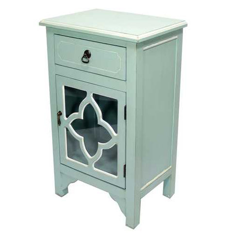 1-Drawer, 1-Door Accent Cabinet W/ Quatrefoil Glass Inserts - Mdf, Wood Clear Glass In Light Blue