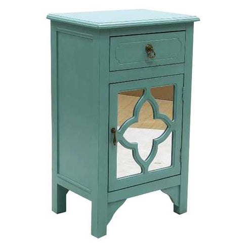 1-Drawer, 1-Door Accent Cabinet W/ Quatrefoil Mirror Inserts - Mdf, Wood Mirrored Glass In Turquoise