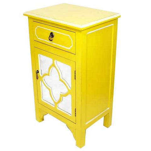 1-Drawer, 1-Door Accent Cabinet W/ Quatrefoil Mirror Inserts - Mdf, Wood Mirrored Glass In Yellow