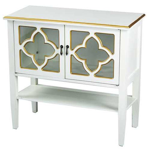 2-Door Console Cabinet W/ Quatrefoil Glass Inserts And Shelf - Mdf, Wood Clear Glass In Antique White W/ Gold