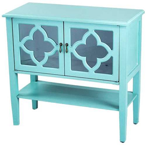 2-Door Console Cabinet W/ Quatrefoil Glass Inserts And Shelf - Mdf, Wood Clear Glass In Turquoise