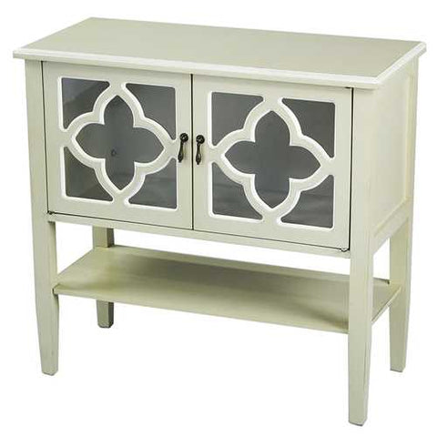2-Door Console Cabinet W/ Quatrefoil Glass Inserts And Shelf - Mdf, Wood Clear Glass In Beige