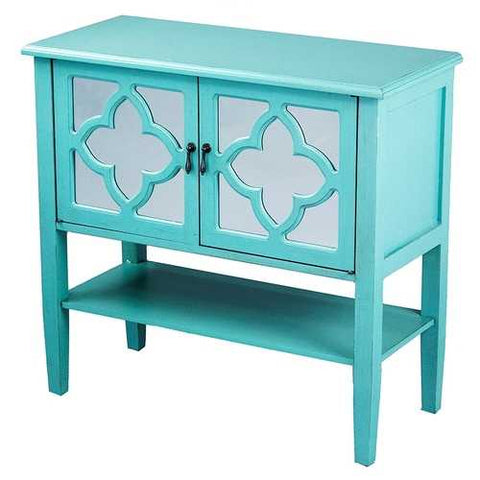 2-Door Console Cabinet W/ Quatrefoil Mirror Inserts And Shelf - Mdf, Wood Mirrored Glass In Turquoise