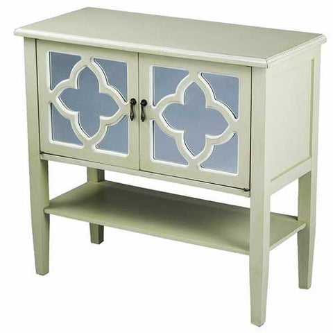 2-Door Console Cabinet W/ Quatrefoil Mirror Inserts And Shelf - Mdf, Wood Mirrored Glass In Beige