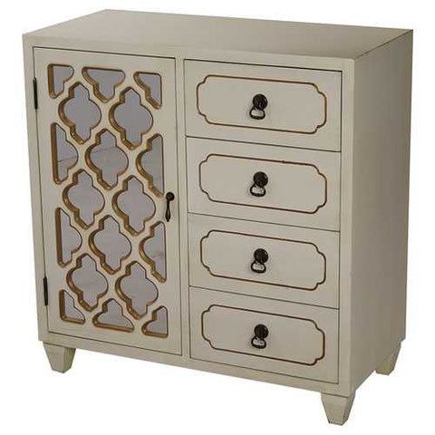 1-Door, 4-Drawer Sideboard W/ Arabesque Mirror Inserts - Mdf, Wood Mirrored Glass In Antique White W/ Gold