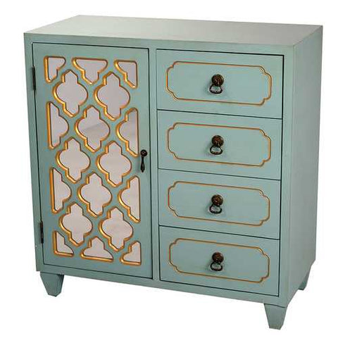 1-Door, 4-Drawer Sideboard W/ Arabesque Mirror Inserts - Mdf, Wood Mirrored Glass In Light Blue W/ Gold