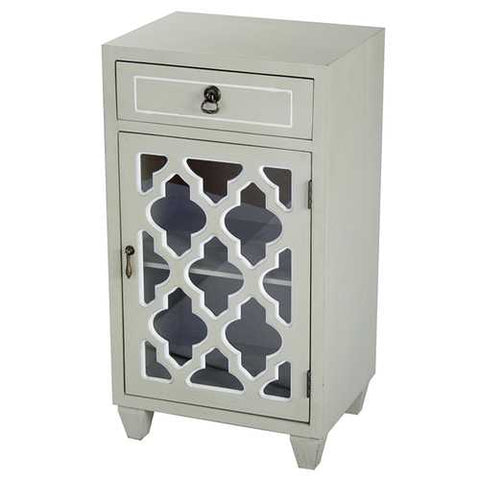 1-Drawer, 1-Door Accent Cabinet W/ Arabesque Glass Inserts - Mdf, Wood Clear Glass In Beige