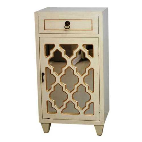 1-Drawer, 1-Door Accent Cabinet W/ Arabesque Mirror Inserts - Mdf, Wood Mirrored Glass In Antique White W/ Gold