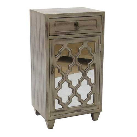1-Drawer, 1-Door Accent Cabinet W/ Arabesque Mirror Inserts - Mdf, Wood Mirrored Glass In Taupe Wash