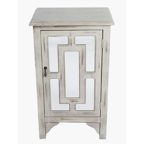 1-Door Accent Cabinet W/ Lattice Mirror Inserts - Mdf, Wood Mirrored Glass In Taupe Wash