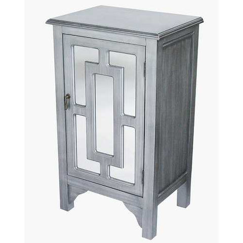 1-Door Accent Cabinet W/ Lattice Mirror Inserts - Mdf, Wood Mirrored Glass In Gray Wash