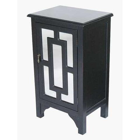 1-Door Accent Cabinet W/ Lattice Mirror Inserts - Mdf, Wood Mirrored Glass In Black
