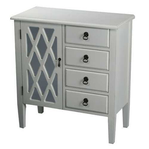 1-Door, 4-Drawer Sideboard W/ Lattice Glass Inserts - Mdf, Wood Clear Glass In Antique White
