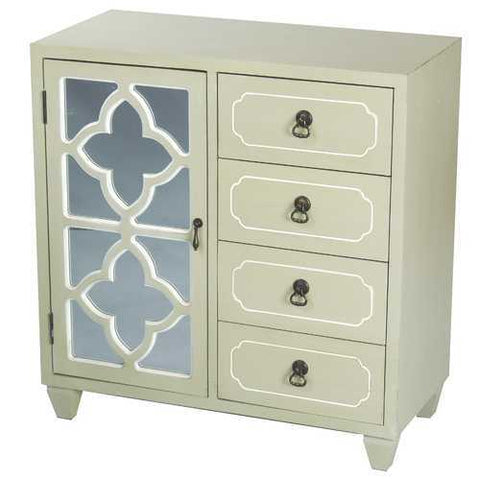 1-Door, 4-Drawer Sideboard W/ Quatrefoil Mirror Inserts - Mdf, Wood Mirrored Glass In Beige