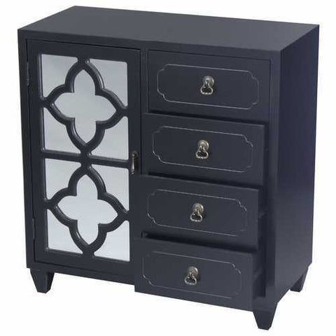 1-Door, 4-Drawer Sideboard W/ Quatrefoil Mirror Inserts - Mdf, Wood Mirrored Glass In Black
