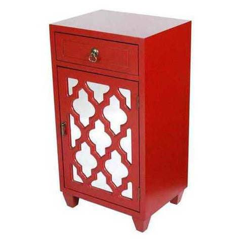 1-Drawer, 1-Door Accent Cabinet W/ Arabesque Mirror Inserts - Mdf, Wood Mirrored Glass In Red