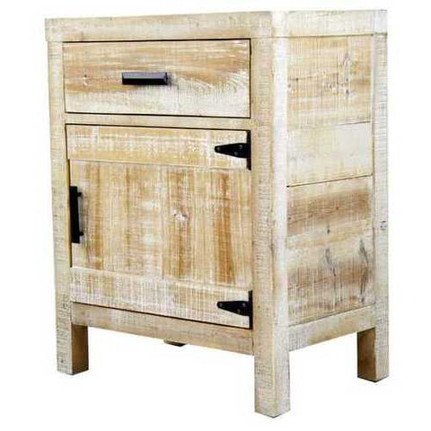 1-Drawer, 1-Door Accent Cabinet - Wood Iron In Distressed Wood