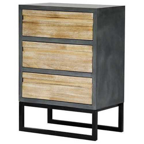 3-Drawer Accent Cabinet - Mdf, Wood Iron In Gray W/ Distressed Wood