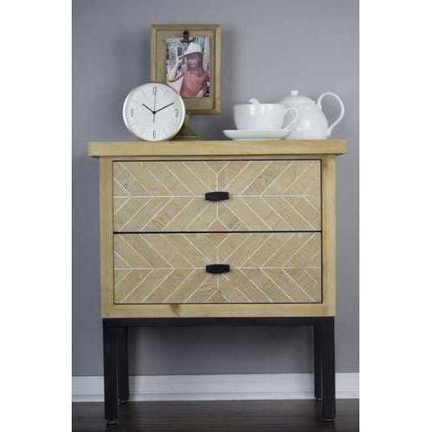 2-Drawer Accent Cabinet - Iron Wood Mdf, Matte