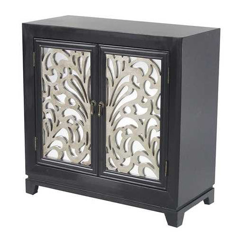2-Door Sideboard W/ Mirror Inserts - Mdf, Wood Mirrored Glass In Black W/ Silver