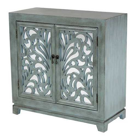 2-Door Sideboard W/ Mirror Inserts - Mdf, Wood Mirrored Glass In French Blue