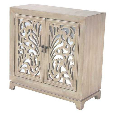2-Door Sideboard W/ Mirror Inserts - Mdf, Wood Mirrored Glass In White Wash