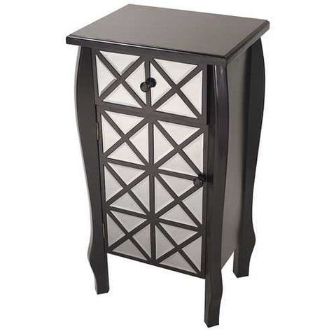 1-Drawer, 1-Door Accent Cabinet W/ Patterned Mirror Accents - Mdf, Wood Mirrored Glass In Black
