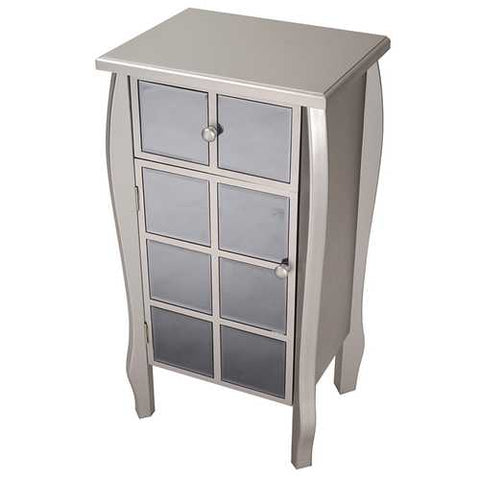 1-Drawer, 1-Door Accent Cabinet W/ Smoked Mirror Accents - Mdf, Wood Mirrored Glass In Silver W/ Smoked Mirror