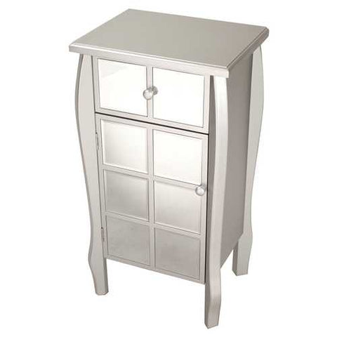 1-Drawer, 1-Door Accent Cabinet W/ Mirror Accents - Mdf, Wood Mirrored Glass In Silver