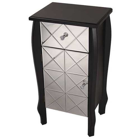 1-Drawer, 1-Door Mirrored Front Accent Cabinet - Mdf, Wood Mirrored Glass In Black