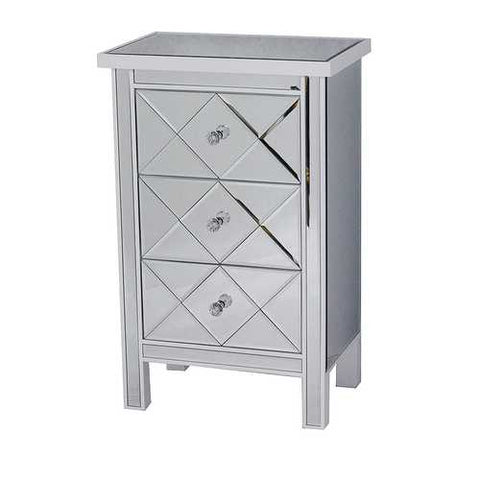 3-Drawer Mirrored Accent Cabinet - Mdf, Wood Mirrored Glass In Antique White