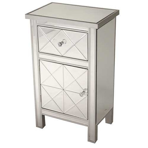 1-Drawer, 1-Door Mirrored Medium Accent Cabinet - Mdf, Wood Mirrored Glass
