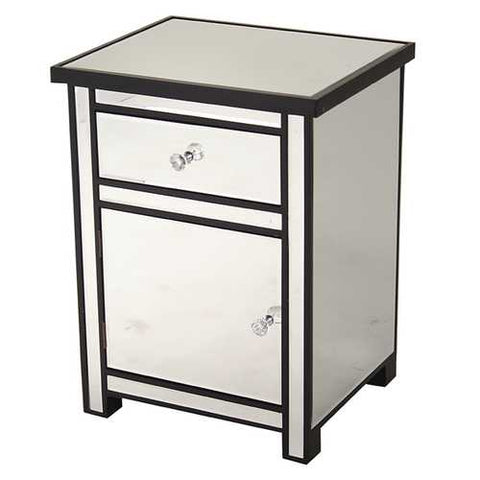 1-Drawer, 1-Door Mirrored Accent Cabinet - Mdf, Wood Mirrored Glass In Black