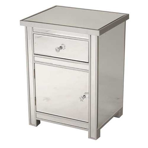 1-Drawer, 1-Door Mirrored Accent Cabinet - Mdf, Wood Mirrored Glass In Silver