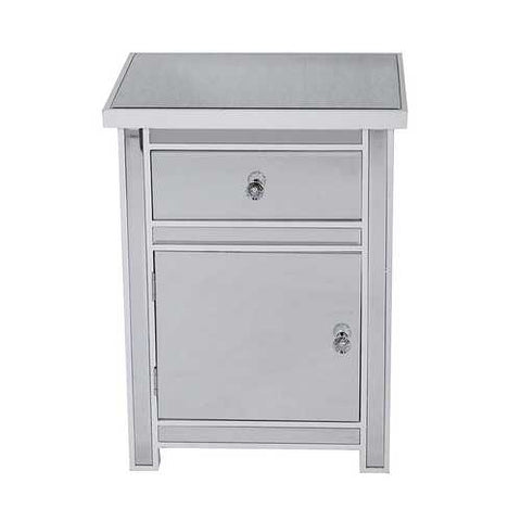 1-Drawer, 1-Door Mirrored Accent Cabinet - Mdf, Wood Mirrored Glass In Antique White