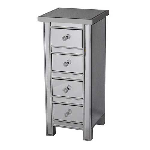 4-Drawer Mirrored Jewelry Cabinet - Mdf, Wood Mirrored Glass In Silver