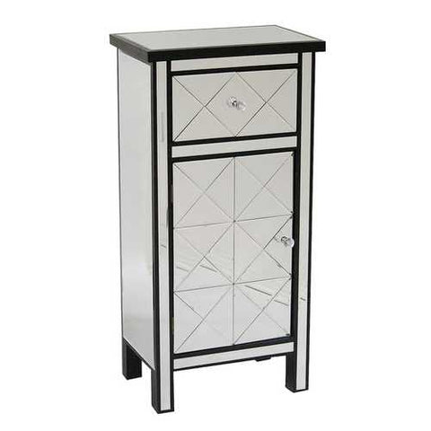 1-Drawer, 1-Door Mirrored Tall Accent Cabinet - Mdf, Wood Mirrored Glass