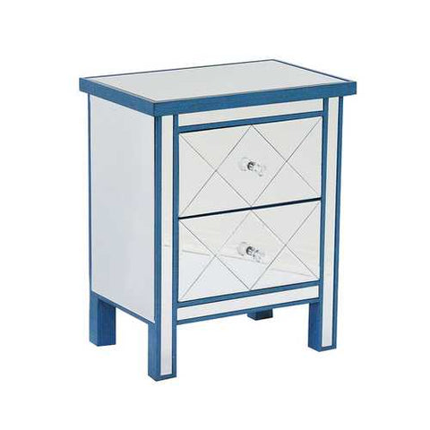 2-Drawer Mirrored Tall Accent Cabinet - Mdf, Wood Mirrored Glass In Blue