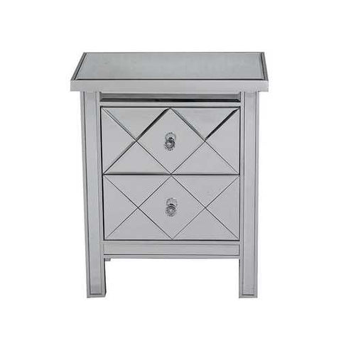 2-Drawer Mirrored Tall Accent Cabinet - Mdf, Wood Mirrored Glass In Silver