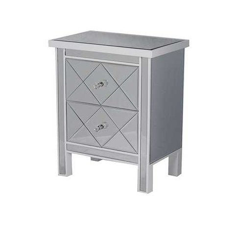2-Drawer Mirrored Tall Accent Cabinet - Mdf, Wood Mirrored Glass In White