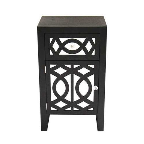 1-Drawer, 1-Door Accent Cabinet W/ Carved Trellis Front And Mirror Accents - Mdf, Wood Mirrored Glass In Black