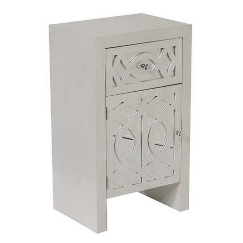 1-Drawer, 1-Door Accent Cabinet W/ Carved Trellis Front And Mirror Accents - Mdf, Wood Mirrored Glass In Antique White