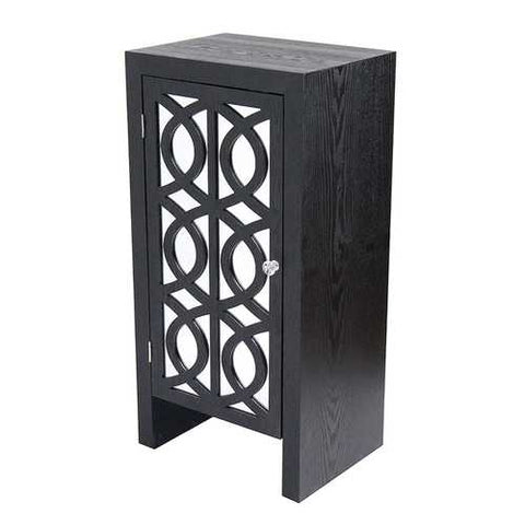 1-Drawer Accent Cabinet W/ Carved Trellis Front And Mirror Accents - Mdf, Wood Mirrored Glass In Black
