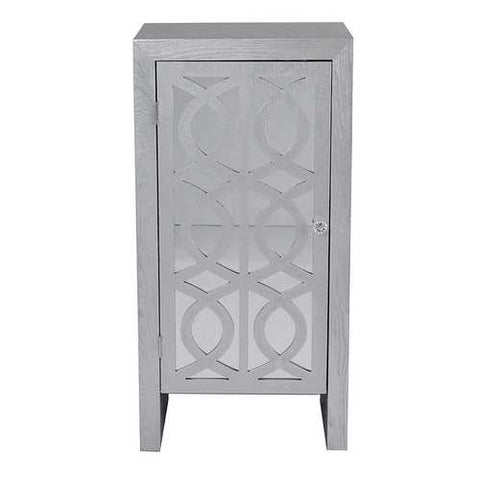 1-Drawer Accent Cabinet W/ Carved Trellis Front And Mirror Accents - Mdf, Wood Mirrored Glass In Silver