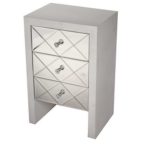 3-Drawer Mirror Front Accent Cabinet - Mdf, Wood Mirrored Glass In Antique White