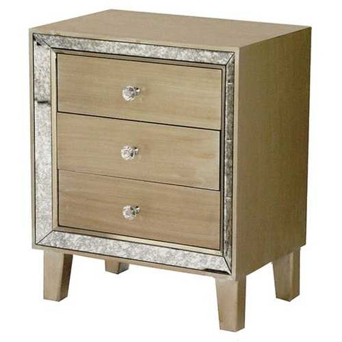 3-Drawer Accent Cabinet W/ Antiqued Mirror Accents - Mdf, Wood Mirrored Glass In Champagne