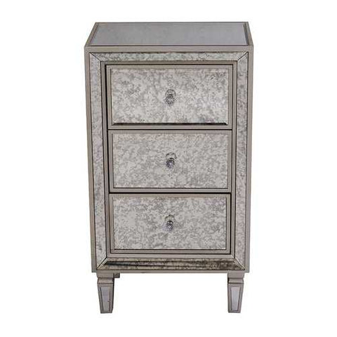 3-Drawer Antiqued Mirror Tall Accent Cabinet - Mdf, Wood Mirrored Glass