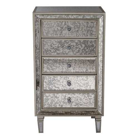5-Drawer Antiqued Mirror Accent Cabinet - Mdf, Wood Mirrored Glass