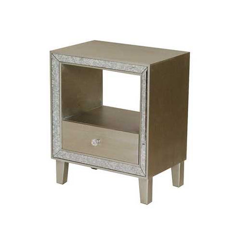 1-Drawer Accent Cabinet W/ Antiqued Mirror Accents - Mdf, Wood Mirrored Glass In Champagne